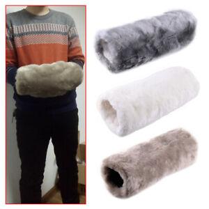 Women Luxurious Super Soft Faux Fur Muff Hand Gloves Warmer Winter Mittens ti