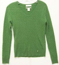 Women's Geneva Green V-Neck 100% CASHMERE Long Sleeve Soft Sweater Small S
