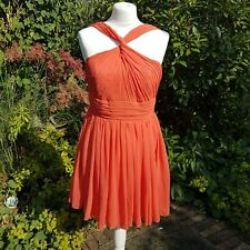Short Chiffon Prom Dress Party Cocktail Ball Bridesmaid Orange - Size 12