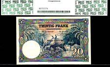"""BELGIAN CONGO P15H """"JUNGLE RIVER- ELEPHANT"""" 1950 20 FRANCS PCGS 40! GORGEOUS!"""