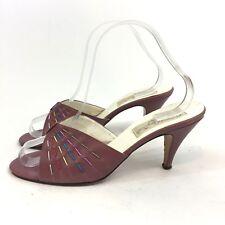Barefoot Originals 8.5 Lilac Purple Slip On Disco Open Heels Mules Vintage