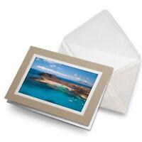 Greetings Card (Biege) - Lobos Island Fuerteventura Canaries  #16565