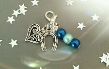 Wedding  Bride to be Good Luck Something blue horse shoe heart charm