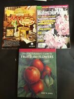 3 Decorative Tole Painting Books Flowers Book 1, Watercolor Magazine