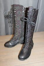 Alice & Olivia Terra Jacquard Lace Up Boots - Women's Size 8, Black MSRP $695
