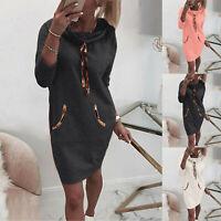 Womens Ladies Casual Hoodie Hooded Dress Jumper Pullover Sweater Sweatshirt Tops