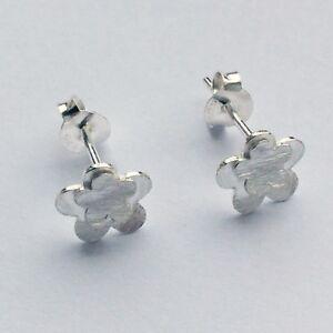 925 Sterling Silver flower shaped brushed finish stud earrings