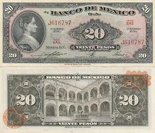 Mexico: $20 Pesos La Corregidora Feb 17, 1965 El Banco de Mexico Unc.