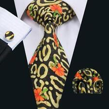 100% Pure Silk Neck Tie Cuff-links & Handkerchief Set Black Yellow Orange Design