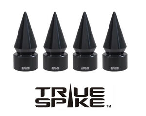 4 TRUE SPIKE BLACK SPIKED TPMS WHEEL AIR VALVE STEM COVER CAP FOR ACURA