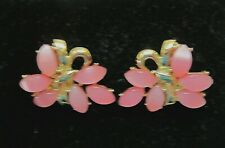 Vintage Coro clip earrings gold tone with pink lucite petals