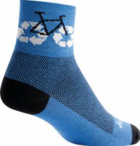 SockGuy Classic Recycle Bike Sock: Blue LG/XL