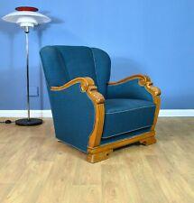 Mid Century Art Deco Danish Teal Blue Wool & Oak Club Lounge Chair (2 Available)