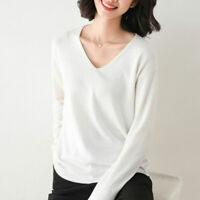 Women's V-neck Pullover Wool Jumper Knitted Cashmere Sweater Winter Size S-2XL