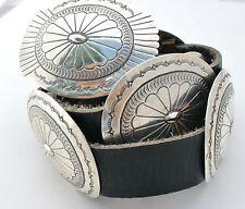 Navajo Concho Belt Hand Stamped Sterling Silver Black Leather Vintage Handmade