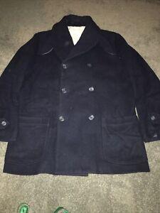 Heritage Research Shawl Collar Pea Coat Blue Wool