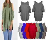 New ladies women 3/4 arms cut out cold shoulder long shirt top tunic dress 8-26