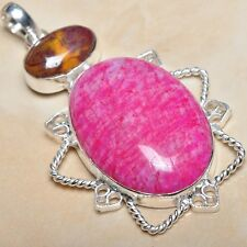 "Handmade Cherry Ruby Natural Gemstone 925 Sterling Silver Pendant 2.75"" #P02018"
