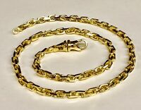 """14kt Solid Yellow Gold Handmade Link Men's chain/necklace 26"""" 50 grams 4.5MM"""