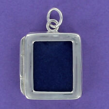 Rectangle Photo Frame Charm Sterling Silver for Bracelet 2-sided Hinge Opening