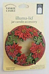 Yankee Candle 2003 Christmas Poinsettia Illuma-Lid ~14.5oz 22oz Candle Topper