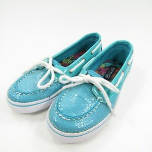 Sperry Top Sider Girls 12 M Sequin Biscayne Boat Shoes Flats Turquoise Teal Blue