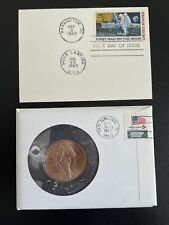 More details for usa 1969 first landing moon first day cover issue 10c airmail stamp medal coin