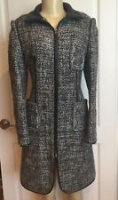 UNIQUE WOOL COAT WITN LEATHER TRIM BY ATOS LOMBARDINI , SIZE 40