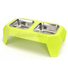 New ListingPet Dog Cat Double Stainless Steel Raised Bowls Water Food Feeder Dish Stand