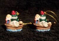 Pair Of Miniature Porcelain Noah's Ark Ornaments - NIP