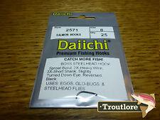 25 x DAIICHI 2571 #8 BOSS STEELHEAD & SALMON HOOKS for WET FLIES NEW FLY TYING