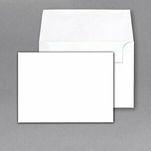 White Heavy Blank Note Cards & Envelopes, 80lb Cover, Card Size 4.5 x 6 (50 Qty)