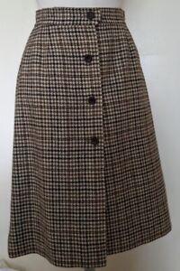 VTG Pendleton 100% Virgin Wool Skirt Lined Beige Brown Plaid Button Front Size S