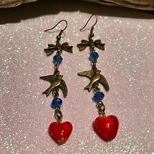 Long Bronze Bow,Swallow,Red Heart ,Blue Glass Bead Earrings,Rockabilly