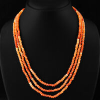 GENUINE 165.00 CTS NATURAL RICH ORANGE CARNELIAN 3 STRAND FACETED BEADS NECKLACE