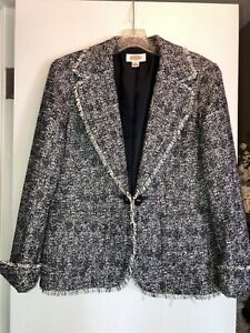 Talbots Navy And White Lined Jacket Size 8