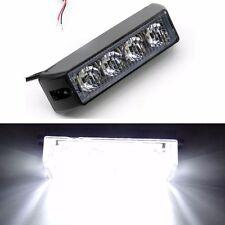 4 LED Blanco Coche Camión Vehículo Advertencia Lámpara Luz Estroboscópica Flash de recuperación de emergencia