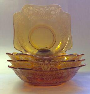 4 RARE Cambridge Glass vintage Art Deco amber etched square dessert/cereal bowls