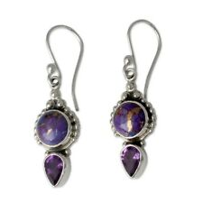 Fashion Long Purple Amethyst Handcrafted 925 Silver Dangle Earrings Jewelry Gift