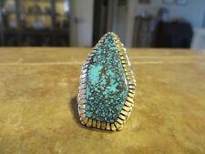 LARGE Vintage NAVAJO Sterling Silver ULTRA PREMIUM Turquoise Design Ring  Size 8
