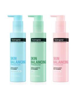 New Bundle of 3 Neutrogena 6.3 fl. oz. Skin Balancing Cleansers - Dry, Oily Skin