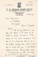C. E. Adams Shirt Co. Ltd Manchester 1939 Phone Call Discussion Letter Ref 37199