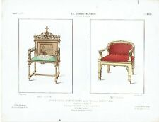 LITHOGRAVURE - Hand-coloured lithograph  LE GARDE-MEUBLE -GUILMARD - FAUTEUILS