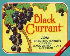 VINTAGE BLACK CURRANT BERRY JUICE BRITISH FOOD AD POSTER ART REAL CANVAS PRINT