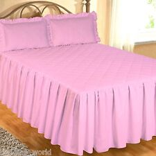PINK FITTED BEDSPREAD SET PILLOW SHAMS QUILTED EGYPTIAN COTTON 200 THREAD COUNT