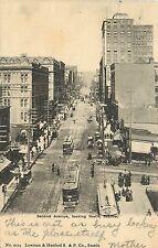 Vintage Postcard Second Ave Street Scene Trollies Seattle WA