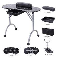 Foldable Manicure Nail Table Portable Station Desk Spa Beauty Salon Black