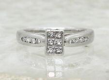 950 PLATINUM DIAMOND ENGAGEMENT RING SIZE L 1/2, 0.38 CT DIA, princess bezel set