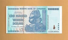 Zimbabwe ZIM 100 Trillion Dollar Bill Banknote Note 2008 AA UNC authenticity COA