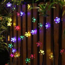 50 LED Energía Solar Navidad Boda Jardín Al Aire Libre De Cadena De Luces Bombillas Color